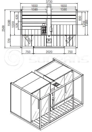 Финская сауна SF1H008 EFFIGIBI LOGICA TWIN DESIGN-20